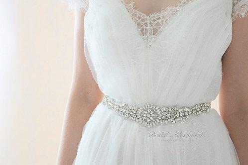 FINLEY Vintage Inspired Crystal Bridal Sash/Belt