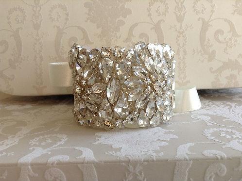 LORETTA Vintage Crystal Bridal Cuff/Bracelet