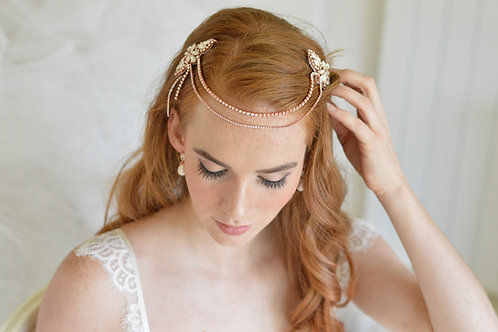 VERITY Luxurious Rose Gold Vintage Inspired Headband