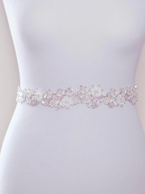 FLEUR Beautiful Opal, Crystal and Pearl Wedding Dress Belt