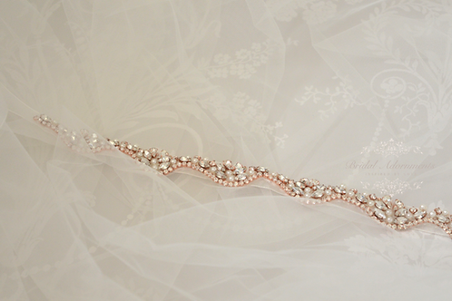 Rose Gold Crystal Bridal Belt