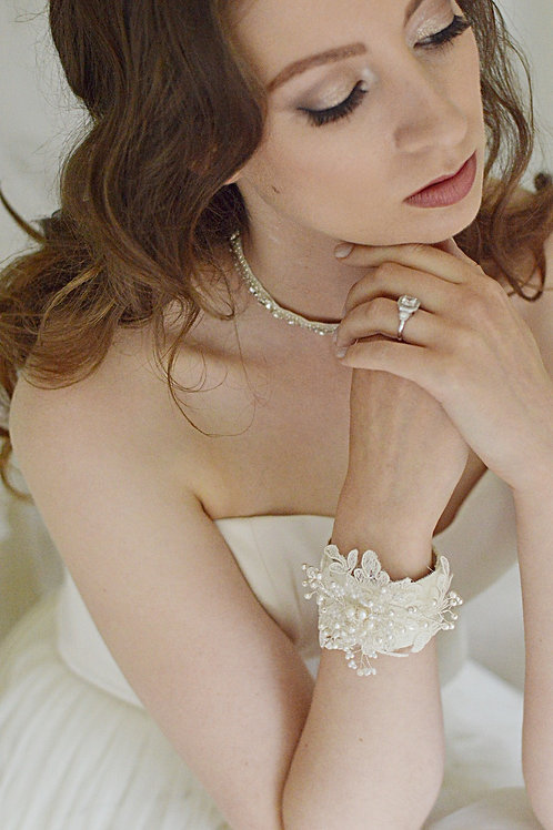 ROSIE Exquisite Lace Swarovski Pearl and Crystal  Bridal Cuff