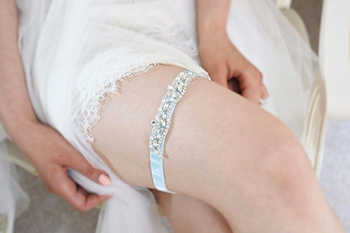 MARIE Silver Crystal and Pearl Blue Bridal Garter