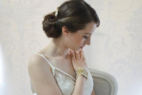 ADELE Gold Vintage inspired bridal cuff/bracelet