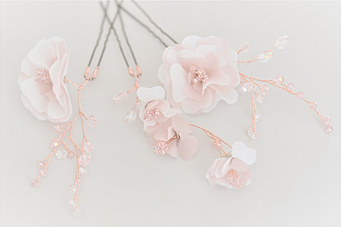 BALLET PINK Rose Gold  Ballet Pink Flower Pins