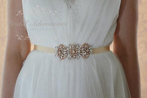 MARIE Rose Gold Crystal Bridal Sash/Belt