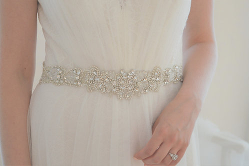 """""""CLAUDIA"""" Beaded Crystal Bridal Belt"""