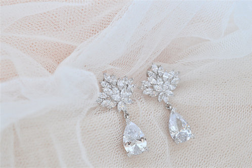 Chic and Glam Cubic Zirconia Bridal Earrings