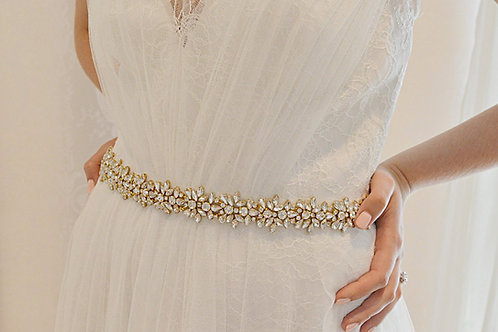 ALEXIA Gold Crystal Wedding Dress Belt