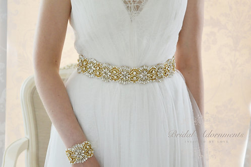 ADELE Gold Vintage Inspired Crystal Bridal Belt