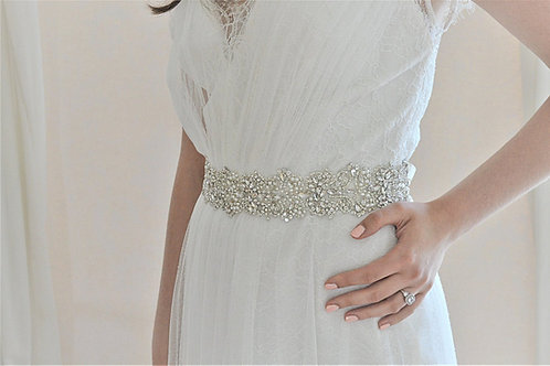 GABRIELLE Crystal and pearl Wedding Dress Belt, Bridal Sash