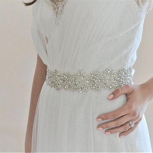 GABRIELLE Crystal And Pearl Wedding Dress Belt Bridal Sash