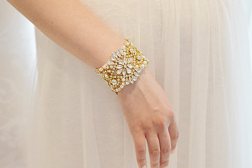 ADELE Gold Crystal and Pearl Bridal Cuff/Bracelet