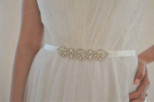 SUMMER Crystal and Pearl Wedding Dress Belt/Sash