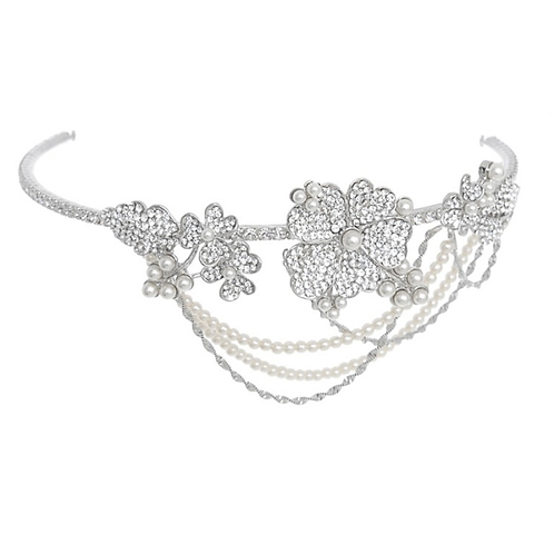 SILVER Bejewelled Bridal Statement Hair Piece