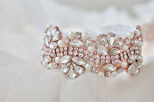 Vintage Inspired Rose Gold Bridal Cuff