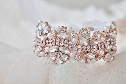 Vintage Inspired Rose Gold Bridal Cuff