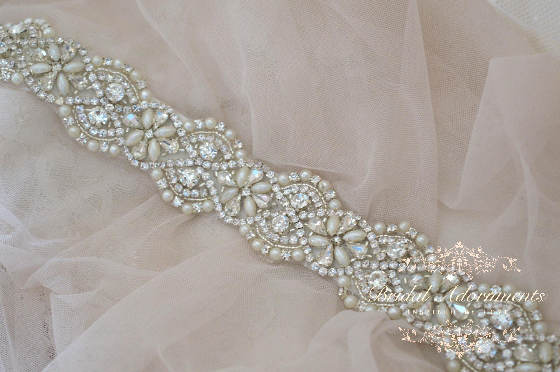 Leola Vintage Crystal And Pearl Bridal Sash Belt