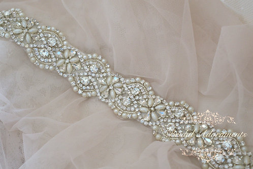LEOLA Vintage Crystal and Pearl  Bridal Sash/Belt