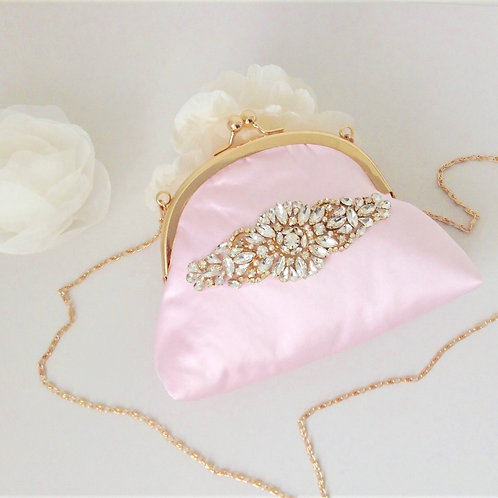 Handmade Gold and Ballet Pink Kiss Lock Bridal Bag