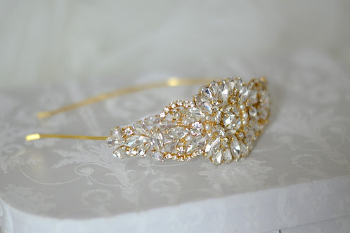 """GOLD"" Vintage Inspired Crystal Bridal Head Band"