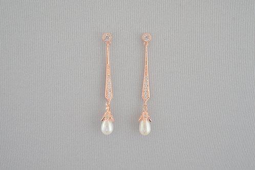 HARPER Rose Gold Cubic Zirconia Glitzy Pearl Drop Earrings
