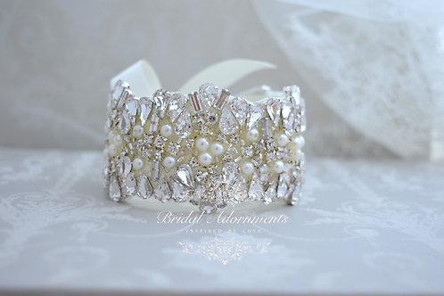 Vintage Inspired Crystal Bridal Cuff Bracelet