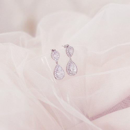 LOTTIE Silver Cubic Zirconia Bridal Earring