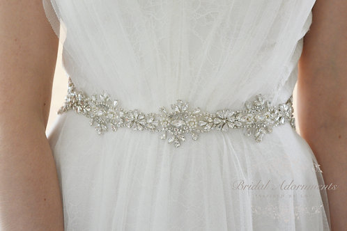 SAMANTHA Vintage Inspired Crystal Bridal Sash/Belt