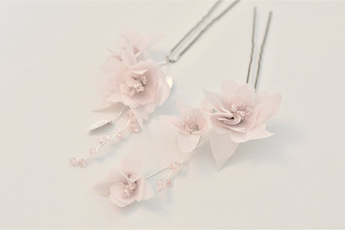 KATHLEEN Pink and Silver Bridal Hair Pins