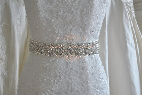 """SONIA"" Crystal and Pearl  Wedding Dress Belt"