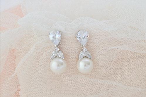 ADELA Cubic Zirconia & Pearl Bridal Earrings