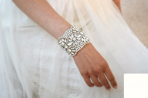 """BELLE"" Stunning Timeless Crystal Bridal Cuff"