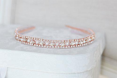 ROSE Rose Gold Bridal Crystal Headband