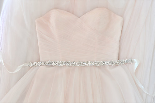 """BELLAMY"" Slim Vintage Crystal Bridal Sash/Belt"