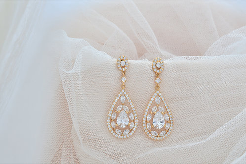 BELLE Gold Cubic Zirconia Bridal Earrings