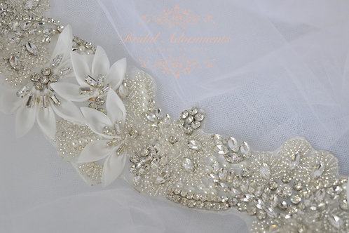 ALEXIA Crystal and Organza Wedding Dress Belt/Sash