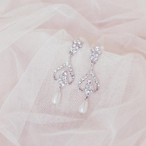 JASMINE Silver Crystal and Pearl Bridal Earrings