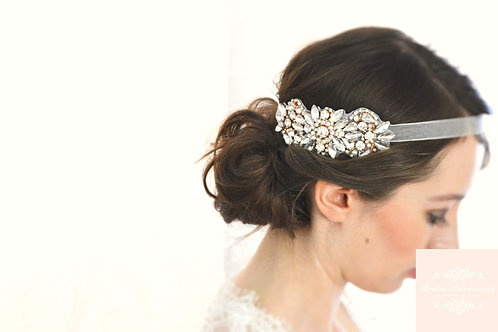 """Edith"" Rose Gold Crystal Bridal Headpiece"