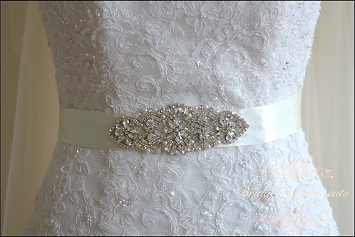 """MINA"" Vintage Inspired Crystal Bridal Sash/Belt"