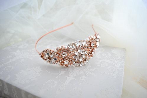 ADELE Rose Gold Crystal Bridal Headband