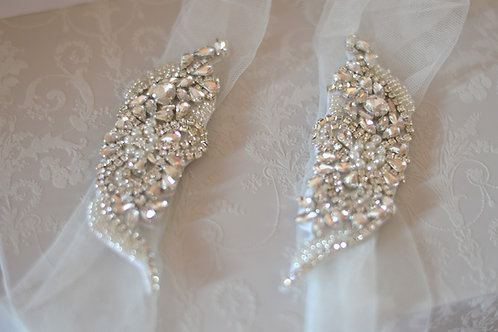 """ATHENA"" Tulle Crystal Bridal Straps"
