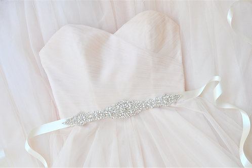 "ARABELLA"" Vintage Inspired Crystal Bridal Sash"