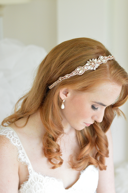 GRACE Crystal Rose Gold Bridal Headpiece