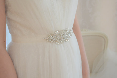 """LOLA""Vintage Crystal and Pearl Wedding Dress Belt"