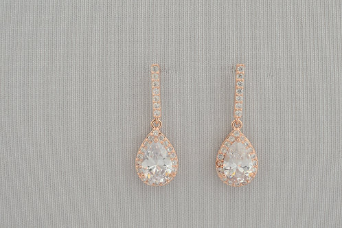 ROMILLY Rose Gold Cubic Zirconia Bridal Earrings