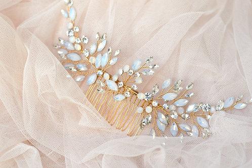 SOFIA Crystal, Opal and Pearl Bridal Hair Comb