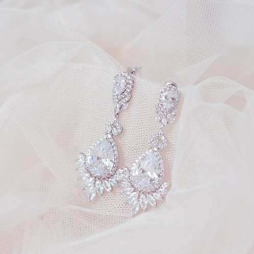 ZARA Silver Cubic Zirconia Bridal Earrings