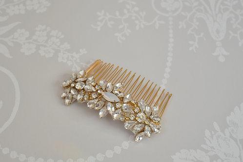 """Opal"" Gold Bridal Hair Comb"