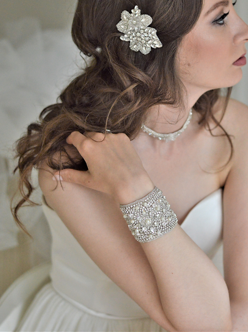 DARSY Vintage Inspired Crystal and Pearl Bridal Cuff/Bracelet